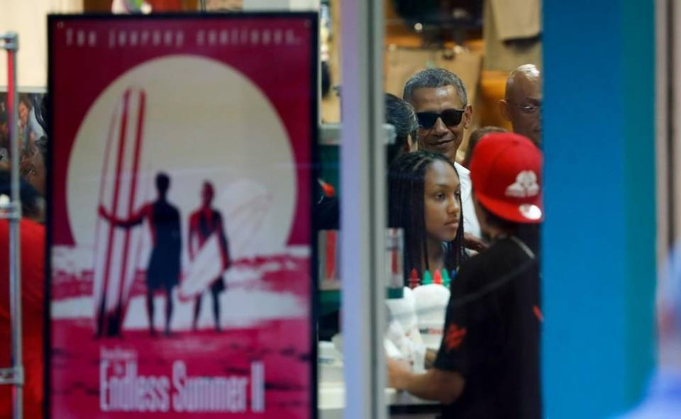 President Barack Obama and family and friends ordered shave ice at Island Snow Hawaii in Kailua, Hawaii, on Christmas Eve. He and his daughters also visited Breakout KC's Waikiki location. Carolyn Kaster - The Associated Press