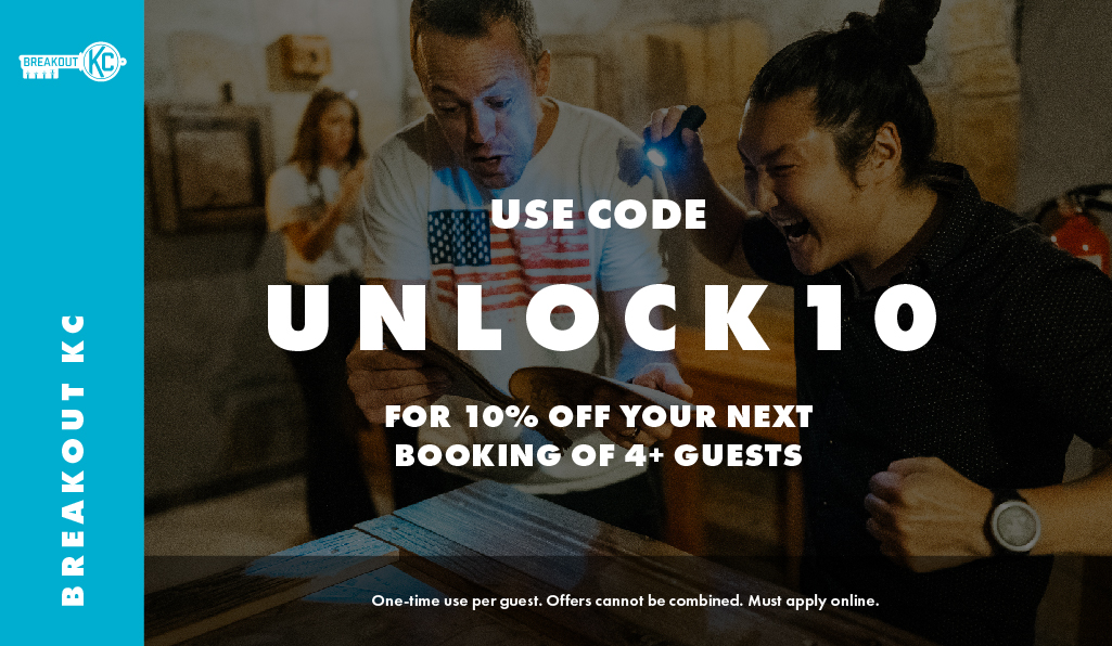 UNLOCK10 promo code coupon discount for 3 dollars off at Breakout KC Escape Rooms instead of using Groupon